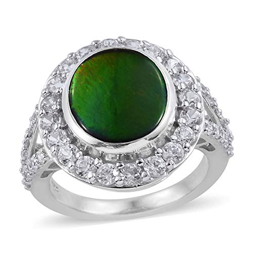 TJC Halo Platinum Plated 925 Sterling Silver Ring for Women Ammolite Cambodian Zircon Size L, 5.15 Ct
