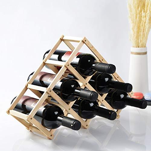 6 flaskor vinställ bänkskiva, naturlig furu hylla för skafferi fristående triangel flaskställ, naturlig färg, 45 × 12 × 31 cm (färg: B)