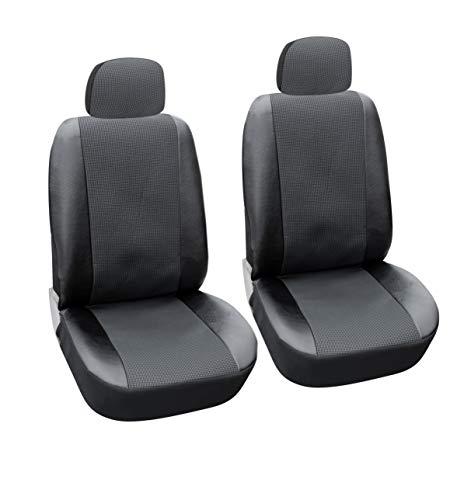 flexzon Fundas de asiento de piel y tela para coche, furgoneta, autobús, taxi, ajuste universal, ajuste delantero, 1+1, color negro