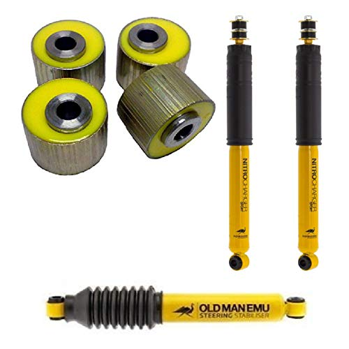 ARB OMECA77B OMESD24 60020 Old Man Emu Bushings with Pair of Rear Sport Shock Absorbers and Steering Damper for Land Cruiser