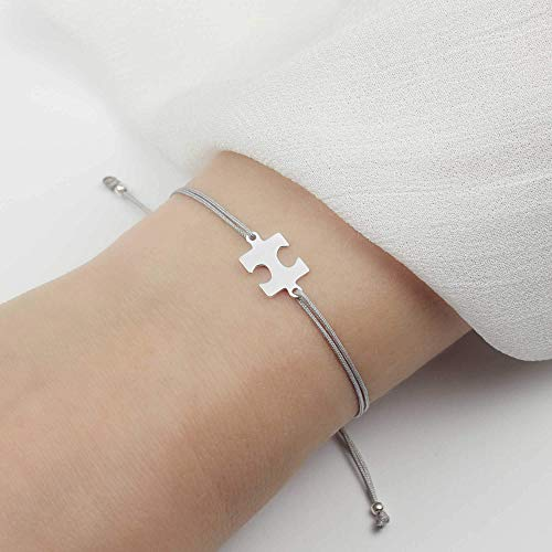 SCHOSCHON Damen Armband Armband Puzzlestück 925 Silber Hellgrau | beste Freundin Schwester Puzzle Schmuck Puzzleteil