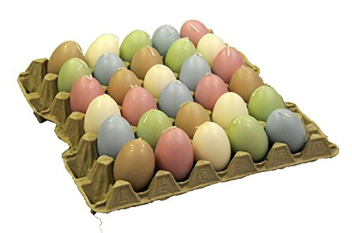 Viele Eikerzen im Tray - Hochwertige Verarbeitung - Buntes Sortiment 1 - Höhe 6cm - 30 Stück Sortiert - Hohe Brenndauer - Kerzen in Eiform/Eierkerzen/Ostereier/Dekoration für Ostern