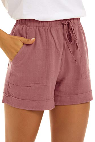 SMENG Kurze Hosen Damen Womens Oversize Casual Pants for Summer Workout Drawstring Solid Colour Simple Shorts Lounge with Pockets Rosa XXL