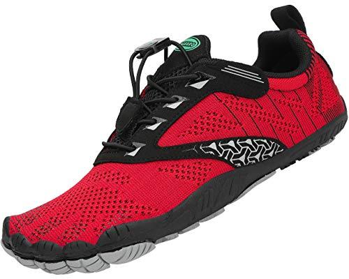 SAGUARO Hombre Zapatillas de Descalzo Mujer Zapatos de Deporte Gym Zapatillas de Playa Exterior Rojo 37