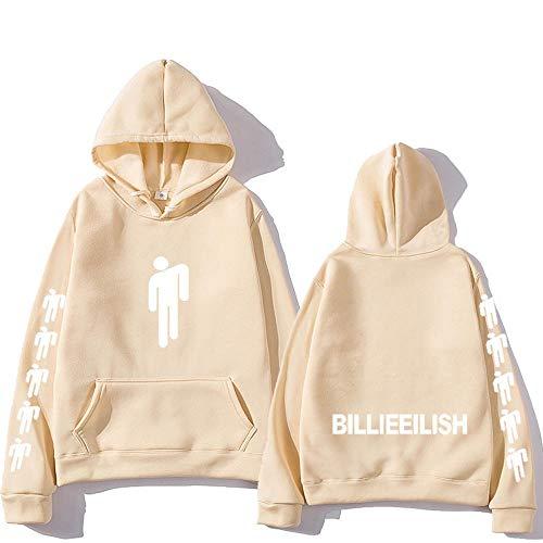 Unisex Hoodie Billie Eilish Men's Sweatshirt with Kangaroo Pockets Rapper Loose Tops Long Sleeve Pullover Yellow