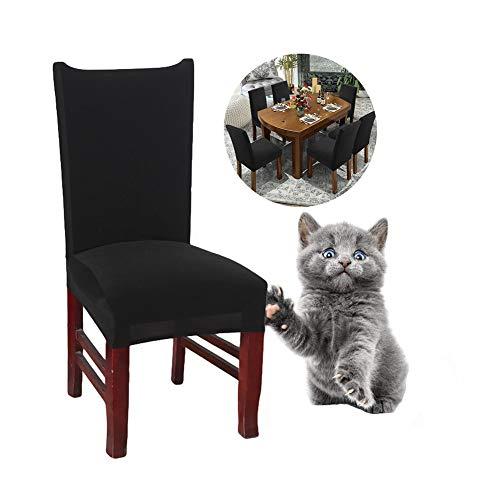 JunYito Stuhlhussen 4er 6er Elastische Set Stuhlhussen Universal Stretchhusse Stuhlbezug Stretch für Stuhl Esszimmer (C-Schwarz, 6 Stücke)