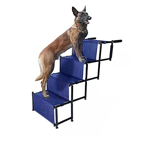 NATUREACT Hundetreppe auto klappbar, Rampe für Große und Kleine Hunde, 4-stufige tragbare Hunderampe, 2-in-1 Kletterleiter, rutschfeste blaue Hundekletterleiter mit Schiene