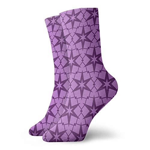 BJAMAJ Unisex Socken lila Sterne Wellenmuster Interessante Polyester Crew Socken Erwachsene Socken Baumwolle