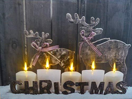 UK-Gardens Quadro Moderno Candele e Renna di Natale con luci LED a Batteria con Timer Stampa su Tela 40x 30cm Decorazione