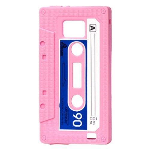 Sonstige Silicone Case/Cover pour Samsung Galaxy S2 / Plus - Housse CASSETTE Musique cassette Quatrième de couverture Shell 9100 / i9105 Vintage Rose/Bleu