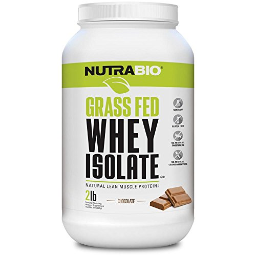 NutraBio Grass Fed Whey Isolate Protein Powder - 25G of Protein Per Scoop - Sugar Free Natural Lean Muscle Protein Supplement - Chocolate - 2 Pounds, 29 Servings
