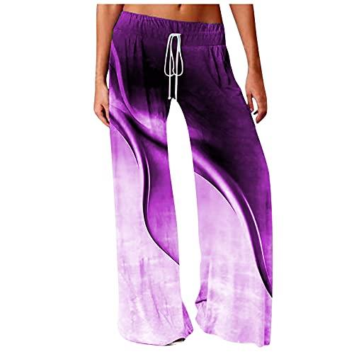 Ladies Printed Drawstring Elastic Band Wide Loose Casual Pants Leg Women Landscape Waist Bandage Yoga Long Purple