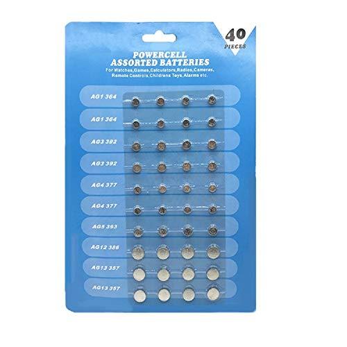 Cotchear 40pcs Alkaline Cell Batteries Assorted 1.5 Volt AG1/LR621 AG3/LR41 AG4/LR626 AG5/LR754 AG12/LR43 AG13/LR44 Coin Batteries Set 0% Mercury