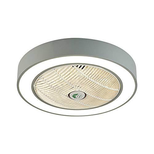 Ventilador LED de 22 pulgadas, velocidad del viento ajustable, 3 modos de color de iluminación con mando a distancia, 36 W, blanco, invisible, lámpara de techo para dormitorio, salón