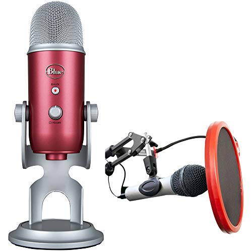 Blue Microphones Yeti USB Microphone Steel Red + Mic. Wind Screen