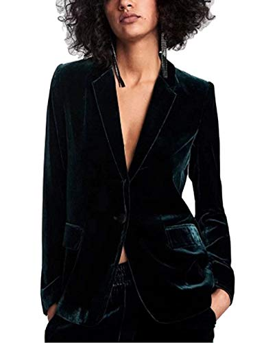 Anzugjacke Damen Frühling Herbst Unifarben Weiches Kurzjacke Bequem Jacket Mode Blazer Samt Slim Fit Langarm Revers Office Business Mantel Outerwear (Color : Grün, Size : M)