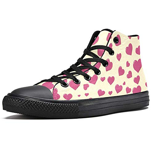 TIZORAX Pink Heart Wallpaper High Top Sneakers Fashion Schnürschuhe Canvas Schuhe Casual Schule Walking Schuh für Herren Teenager Jungen, Mehrfarbig - mehrfarbig - Größe: 42.5 EU