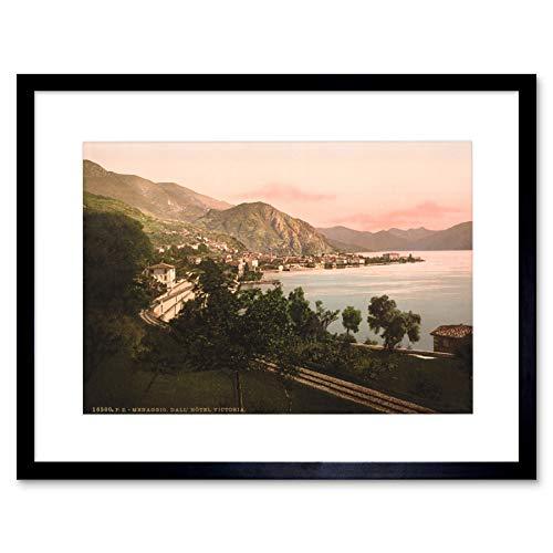 Photo MENAGGIO General View Lake Como Italy Black Framed Art Print B12X7612