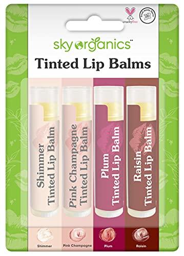 Organic Tinted Lip Balm by Sky Organics – 4 Pack Assorted...