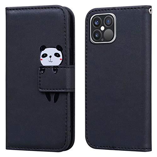 Ailisi Funda iPhone 12 Pro MAX, Panda Cartoon Diseño de Animales Black Billetera Carcasa Protectora de Cuero PU con Cierre magnético, Función de Soporte, Ranuras para Tarjetas -Panda, Negro