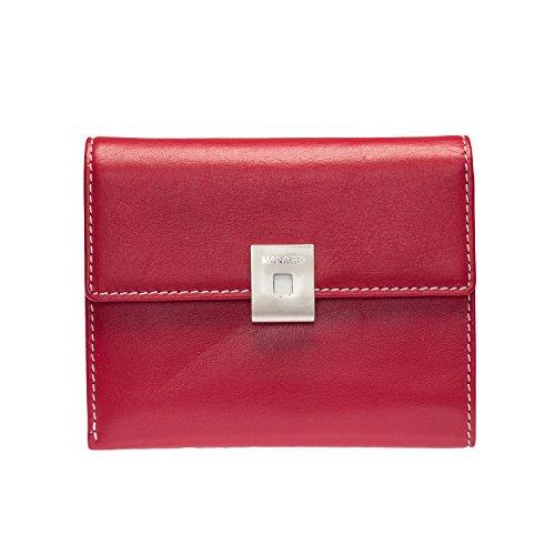 Voi Manage Linkshänder Damen Leder Geldbörse Portemonnaie Rot Weiss