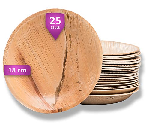 Waipur Bio Palmblattteller - 25 Teller Rund Ø 18 cm - Premium Einweggeschirr kompostierbar - Umweltfreundliches Partygeschirr - Palmblatt Geschirr