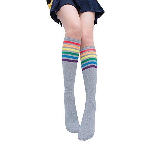 TIFIY Socken Damen,2019 Sommer 1 Paar Über Knie Regenbogen Strumpfhosen Streifen Schenkel Hohe Socken Mädchen Fußball Socken Schwarz Weiß(Grau)