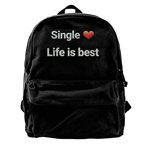 Single Life Is Best Men Women Boy Girls Backpack Bag Cotton Running Adjustable Strap Hip Bum Black