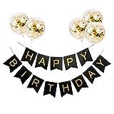 VCOSTORE Happy Birthday Girlande Banner mit 5 goldenen Pailletten Konfetti Latex Luftballons & 13 glänzenden goldenen Buchstaben Banner Flags Ideal für Geburtstagsfeier Dekorationen