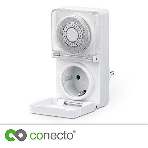 conecto CC50202 Mechanische timer voor stopcontact, binnen en buiten (indoor/outdoor), schuifregelaar voor tijdsaanduiding, 24 uur timer, beschermingsklasse IP44 | kinderbeveiliging, 3500 W, wit