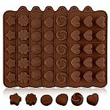 Stampi Cioccolatini Silicone,5 pcs Stampi Cioccolato Senza BPA, Stampo Cioccolatini Alimentare Silicone con 5 Forme Diverse, Stampi per Cioccolato,Caramelle ,Dolci (marrone)
