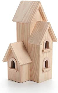 """Darice Unfinished Natural Wood Decorative Birdhouse – Light Wood, Manhattan Style – Great for Holiday and Home Décor Projects – Decorate with Paint, Tiles, Decoupage and More – 12"""" Tall (1 Piece)"""