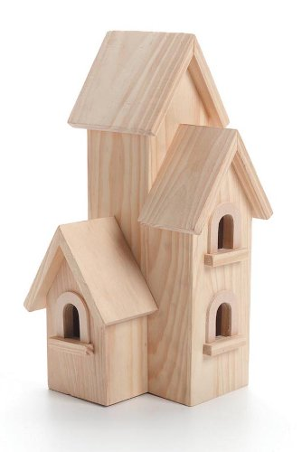 Darice Unfinished Natural Wood Decorative Birdhouse  Light Wood, Manhattan Style  Great for Holiday and Home Dcor Projects  Decorate with Paint, Tiles, Decoupage and More  12 Tall (1 Piece)
