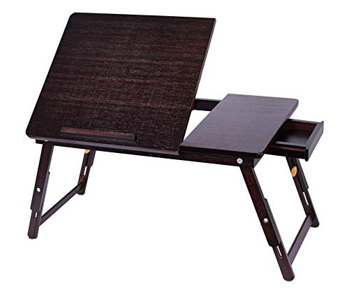 Sofia + Sam Bamboo Laptop Lap Tray with Adjustable Legs - Work from Home - Foldable Breakfast Serving Bed Tray - Lap Desk with Tilting Top and Storage Drawer - Computer Laptop Stand - Walnut