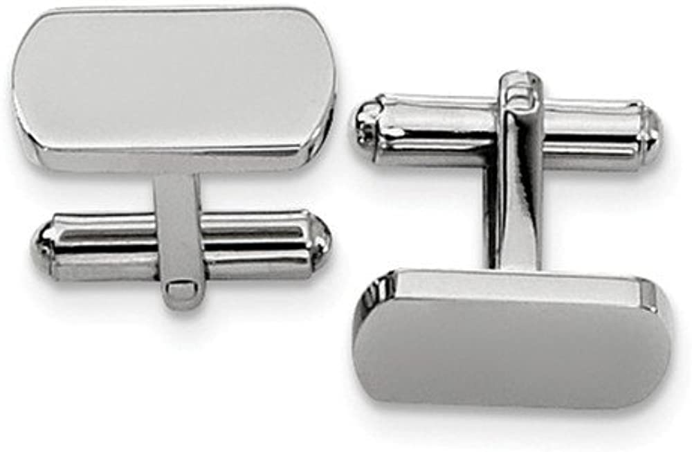 Stainless Steel Polished Cuff Links (18mm x 8mm)