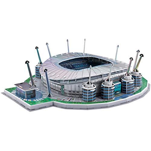 Etihad-Stadionmodell, 3D-Puzzle-Fußballstadion-Gebäudemodell mit Aguero-Puppe, das Beste Souvenirgeschenk für Fans und Fans