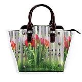 BROWCIN Tulipán Flores rojas Hojas verdes Prado Cerca de madera Naturaleza Primavera Paisaje Desmontable Moda Tendencia Bolso de las señoras Bolso de hombro