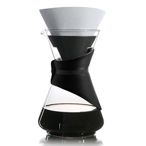Finum Bloom and Flow - Cafetera de goteo con jarra de cristal, cafetera manual, cafetera de filtro, cafetera de cristal, con filtro, tetera de filtro, sin BPA, color negro