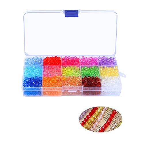 LAITER 1500 Stück Facettierte Glasperlen Großhandel Kristall Glas Perlen 15 Farben Perlen mit Kunststoff Aufbewahrungsbox für DIY Schmuck Halskette Armband Basteln (6mm)