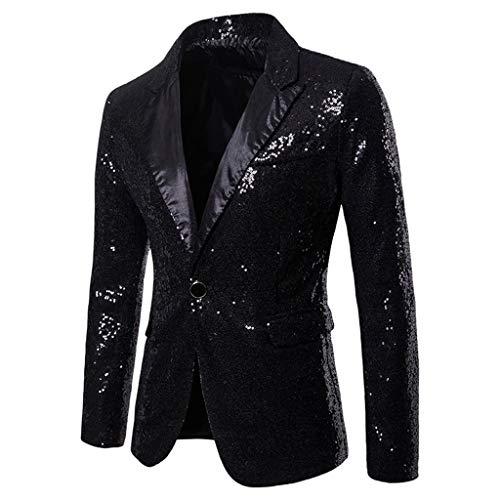 Riou Herren Pailletten Sakko Blazer Anzugjacke Slim Fit Glitzer Anzug Jacke Karneval Kostüm für Fasching Mottoparty (L, Schwarz)