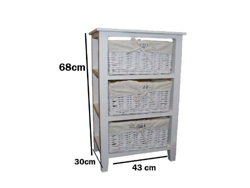 Cassettiera In Vimini Per Bagno.Affordable Woodluv 3 Drawer Wooden Storage Cabinet With Wicker