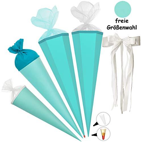 alles-meine.de GmbH Schultüte - Rohling - TÜRKIS blau - 70 cm - rund - incl. große Schleife - Filzabschluß - mit / ohne Kunststoff Spitze - Zuckertüte - Ursus - Jungen Mädchen - ..
