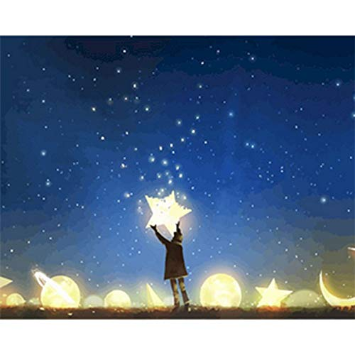Cuadro de bricolaje sin marco por números estrellas paisaje pared arte imagen acrílico decoración del hogar obra de arte Diy regalo A5 40x50cm