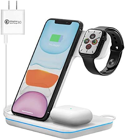 Wireless Charging Station 3 in 1 Qi Certified 15W Wireless Charger Stand Compatible for Apple product image