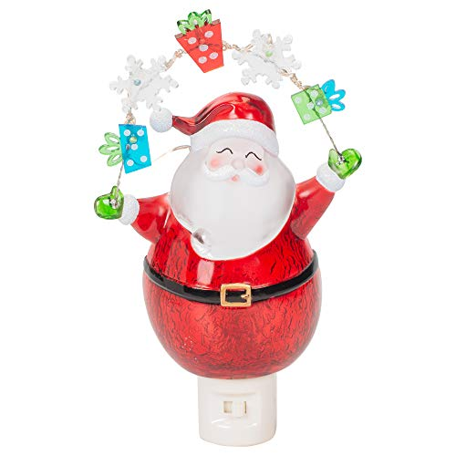 "Night Light Santa and Garland 7.75"" LED Christmas Light Decor"