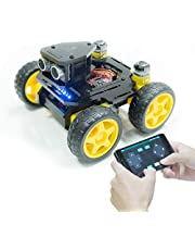 Adeept Smart Robot Car Kit 4WD Compatibel met Arduino UNO R3, Line Tracking, Ultrasone Sensor, ESP8266 WiFi, Processing, DIY Robot Kit AWR-A met mobiele APP en PDF