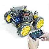 Adeept Kit de Coche Robot Inteligente 4WD Compatible con Arduino UNO R3, Seguimiento de línea, ESP8266 WiFi, procesamiento, Kit de Robot de Bricolaje con aplicación móvil y PDF