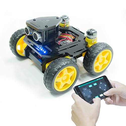 Adeept AWR-A 4WD Smart WiFi Robot Car Kit Compatible with Arduino UNO R3, Line Tracking, Ultrasonic Sensor, ESP8266 WiFi, Processing, DIY Robot Kit with Mobile APP and PDF Manual