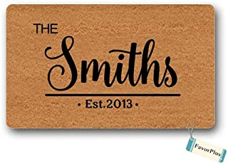 Doormat The Family Name Est. Year Text Personalized Custom Customized Entrance Outdoor/Indoor Non Slip Decor Funny Floor Door Mat Area Rug for Entrance 18x30 inch