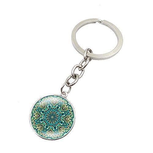 UmerBee Llavero 1 pieza Mandala flor OM símbolo llavero tiempo gemas llaveros llavero titular regalo